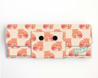 Vinyl Long Wallet - Sleepy Foxes / fox, vegan, pretty, large wallet, clutch, card case, vinyl wallet, handmade, woodland, forest animals