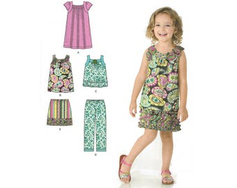 Child's Skirt, Cropped Pants and Dress or Top – Simplicity 2238 – UNCUT Sewing Pattern – Size A 3, 4, 5, 6, 7, 8