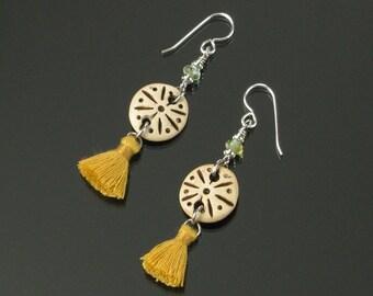 Unique Tribal Earrings, Ethnic Earrings, Boho Silver Earrings, Gold Tassel Earrings, Unique African Jewelry Gift for Women, Girlfriend Gift