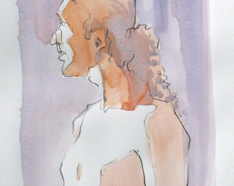 Man standing in profile. watercolor