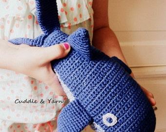 Crochet Navy Blue Whale, 30 cm long, Mini Whale, Stuffed Whale, Amigurumi, Safe Toy for Kids and Babies, Baby Nursery Decor, Nautical Gift.