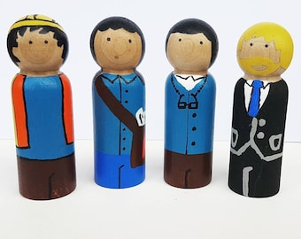 Careers (Kit 2) - UNFINISHED Wooden Peg Dolls - DIY Kit
