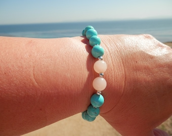 Stretch Bracelet -  Turquoise Howlite 8mm with Pink Aventurine 8mm with Silver Plated Findings