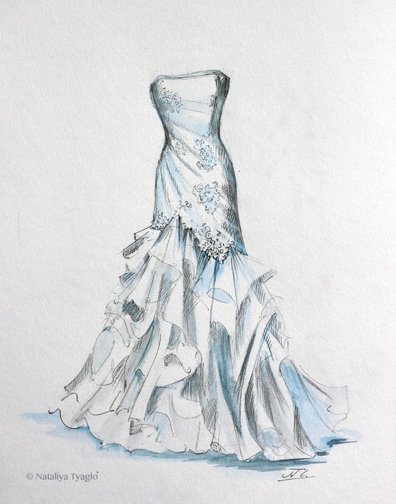 Simple Wedding Dress Painting Sketch