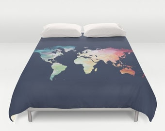 Navy blue bedding etsy world map duvet cover navy comforter full queen king painted map bedding globe bed cover navy blue duvet cover travel lover bedding gumiabroncs Choice Image