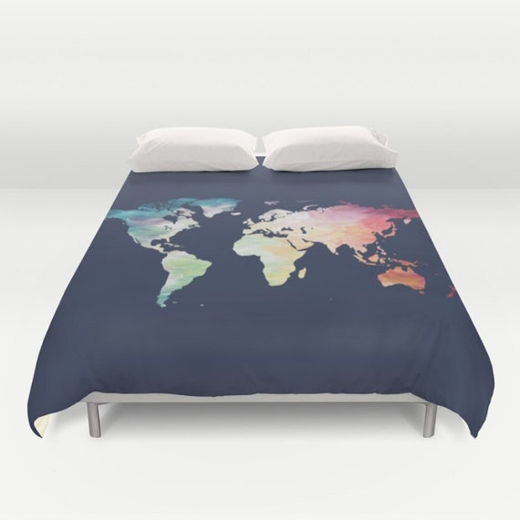 World map duvet cover navy comforter full queen king like this item gumiabroncs Images