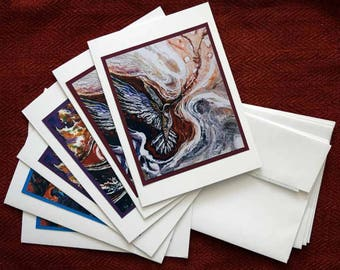 """Bird painting cards, 2 each of 3 designs, 6 cards and envelopes, 4.75"""" x 6.5"""""""