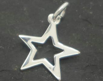 Sterling silver star pendant ,  solid silver star charm  , sterling silver 925 star charm ,  silver celestial flat star pendant