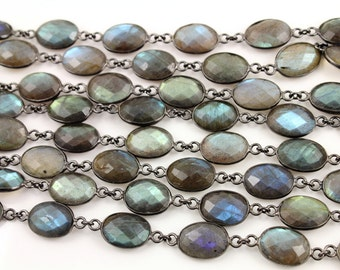 Labradorite Oval Bezel Chain, Labradorite Connector Chain linked sold in Sterling Silver with Antique finish,13x10 mm, (GMC-BZ-341)