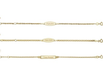 "9ct Gold 6"" Baby Identity Bracelet Hallmarked - Personalised Engraved Name"