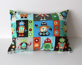 Nursery Pillow Cover- Robot Nursery Pillow- Robot Nursery Bedding- Robot Theme- Outerspace Nursery Pillow- Baby Boy Nursery- Robots Planets