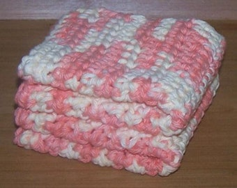 100% Cotton Crochet, Handmade Wash Cloth, Dish Rag Pair, Dreamcicle Orange and Cream