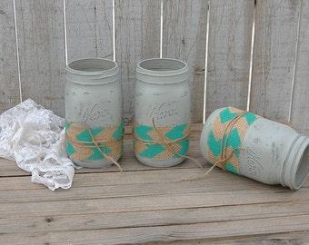 Mason Jars, Shabby Chic, Grey, Aqua, Chevron, Burlap, Rustic, Hand Painted, Distressed, Wedding, Beach Decor, Painted Mason Jar