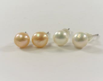HolidayGift-Add USD0.20 on Purchase at USD60, 7 Or 9mm Genuine Pearl Stud Earrings w/Copper Posts, Bridal Wedding Pearl Earrings (682-ER)