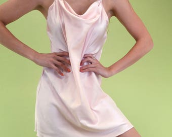 Special lightest baby pink vintage slip with cowl neck SIZE s m