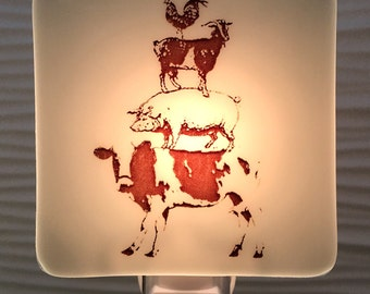 Farm Animal Stack Night Light Goat Pig Cow Chicken Fused Glass