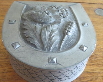 Antique French Pewter Box Artisan Made and Signed by O. Lefebvre from France The Art of Punched Metal called Dinanderie Art Nouveau Flowers