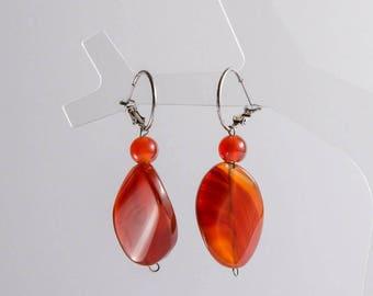 Genuine Carnelian Earrings, Dark Red Earrings, Carnelian Dangle Earrings, Graduation Gift for Her, Charity Earrings, Charity Donation