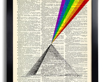 Rainbow Prism Pyramid Art Print Vintage Book Print Recycled Vintage Dictionary Page Collage Repurposed Book Upcycled Dictionary 178