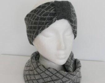 Headband Soft Merino Lambswool Coal Grey Pearl Grey With Coal Grey Mid Band