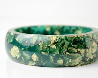 oval eco resin bangle bracelet with jade green gold leaf flakes