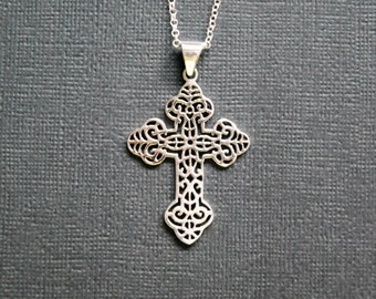 Silver cross necklace, 925 sterling silver cross pendant, detailed cross, large cross, fancy cross, faith, classic jewelry - senora