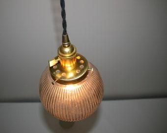 "6"" Ribbed Glass Globe Pendant Light -  Hanging Pendant - Vintage Style Cloth Cord"