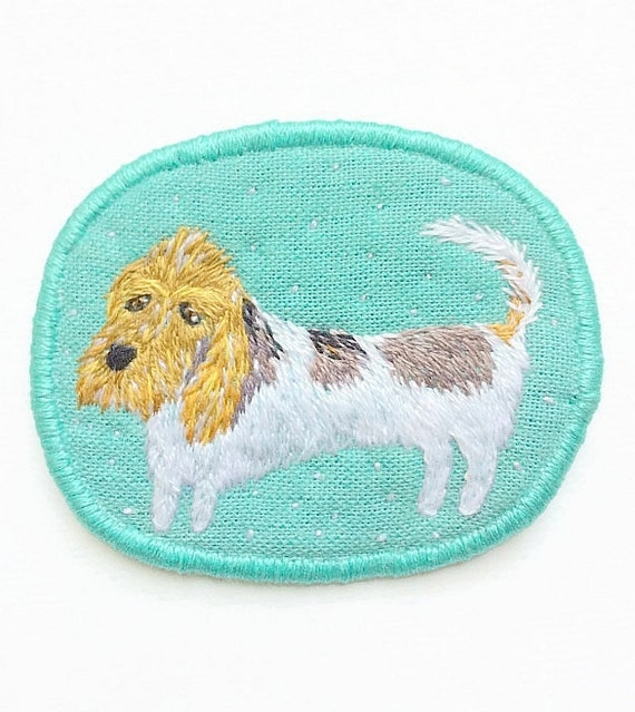 Textile Pet Portrait Brooch - The long dog - Basset Griffon Vendeen - Funny Dogs - collection, hand embroidered textile dog jewelry