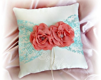 Coral and Aqua lace wedding ring bearer pillow.  Wedding satin ring cushion