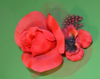 Red rose, feather, and tulle hair flower with french barrette