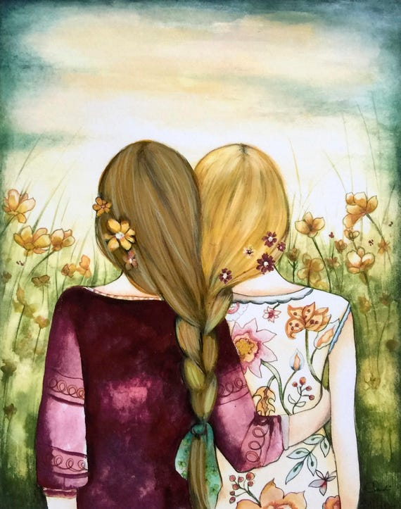 Art print sisters best friends  gift idea  with 2  blonde  hair intertwined braids