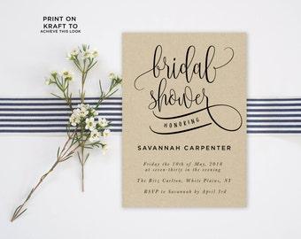 Bridal Shower Invitation Template | Editable Invitation Printable | Wedding Shower Calligraphy Kraft Invite | No. PW 5344