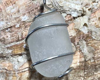Beautiful Frosty White California Sea Glass Pendant Sterling Wire Wrapped