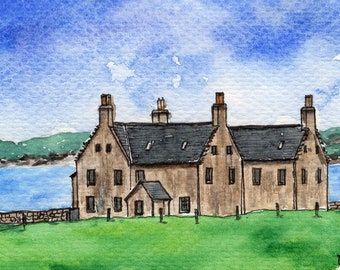 ACEO Original Watercolor Painting-Balnakeil House,18th Century Mansion,Durness/Scotland