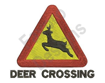 Deer Crossing Sign - Machine Embroidery Design