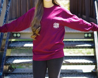 Monogram Long Sleeve Pocket Shirt