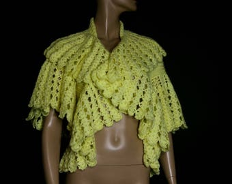 Vintage 1960s Sweater // Crocheted // Knitted // Yellow // 60s sweater// 60s // Open Front Sweater