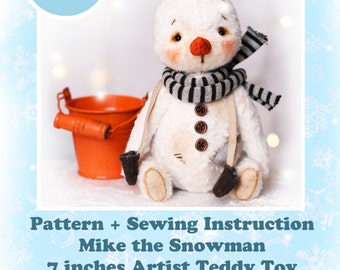 PATTERN + BONUS Sewing Instruction - Instant Download PDF Pattern of Mike the Snowman artist teddy toy 7 inches