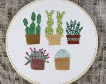 "Embroidery hoop Cactus, succulents ""Cinco Amigos"", Hand Embroidery 8"" Bamboo Hoop - plants, flowers, cacti, desert, handmade"