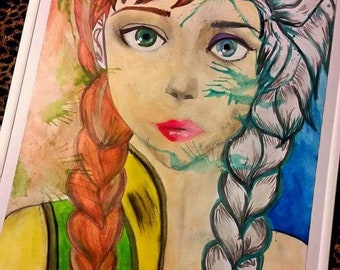 Hand painted 16x20 Anna and elsa painting