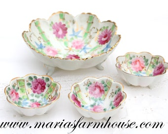 FOOTED BOWLS, Vintage, Porcelain, Hand Painted Bowls by Nippon, Collectible, Nut Bowls, Tea Party, Gifts for Her