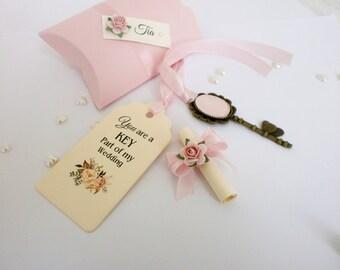 Will you be my Bridesmaid Card Bridesmaid Proposal Card with Box Vintage Key Bridesmaid Invitation