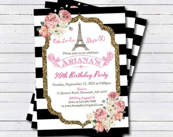 Paris 30th birthday invitation. Eiffel Tower adult birthday. French theme black and white stripes pink and gold glitter digital invite AB099