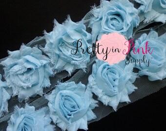 LIGHT BLUE  Shabby Rose Trim - Shabby Chiffon Rosettes - 1/2 Yard or 1 Yard - Shabby Flower Trim - Wholesale Shabby Flower - Chiffon Flower