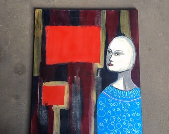 Red Tribute, original acrylic painting on stretched canvas, large painting, abstract figure