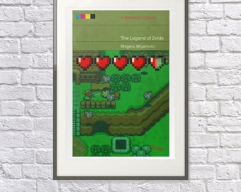 The Legend of Zelda as a Vintage Book Cover - Art Poster Gift Present - Vintage Nintendo Fan - Arcade Gaming Fan