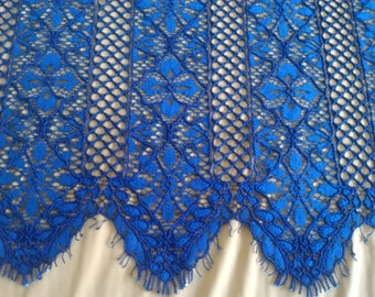 Blue lace fabric, Embroidered lace, French Lace, Wedding Lace, Bridal lace, White Lace, Veil lace, Lingerie Lace, Alencon Lace by the yard
