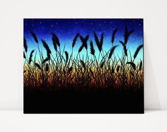Sunset Landscape Canvas, Sunset Landscape Painting, Country Landscape Painting, Country Landscape Canvas, Wheat Field Art, Tabletop Canvas
