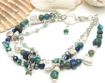Beaded Bracelet, Boho Bracelet, Beach Bracelet, Gemstone Bracelet, Multi strand bracelet, Beach Jewelry, bracelet femme, silver bracelet