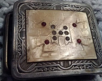 """Vintage Silverplated Belt Buckle with Letter """"H"""" and Rubies"""